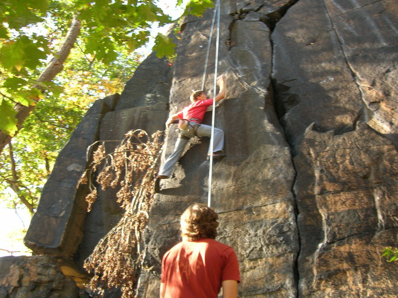 Tay-Tay headin up a route at the dihedrals (little falls)