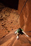 Rock Climbing Photo: Looking down on Andrew climbing 10+ warmup climb o...