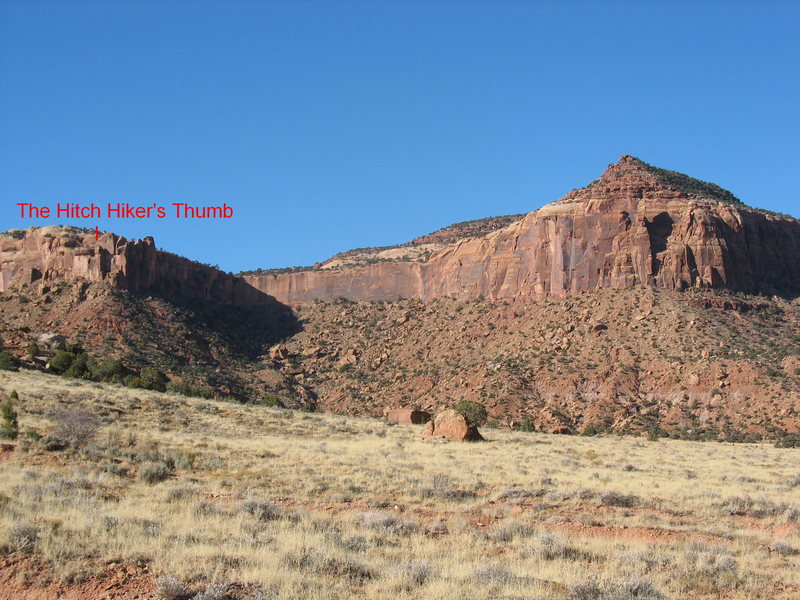 The upper canyon, with the Thumb labeled, as seen from where the road deteriorates and it's recommended that you park.