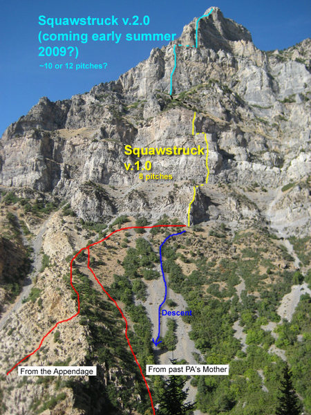 Squawstruck on Squaw Peak, showing the lower half of the route that is completed (yellow) and the unfinished blue part. Approach and descent are also marked.