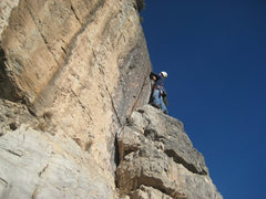 Rock Climbing Photo: Me on pitch 8, right before the 5.8 scary jump (or...