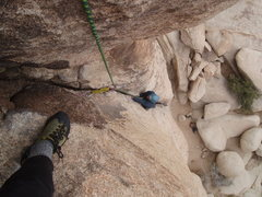Rock Climbing Photo: Nate swimming up the crack, nearing the top of the...