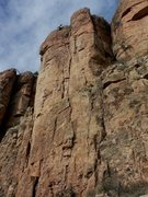 Rock Climbing Photo: Dave G. at the anchors of Oscar de la Cholla.  A f...