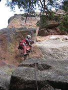 Rock Climbing Photo: The crux of P1 is an awkward move where the corner...