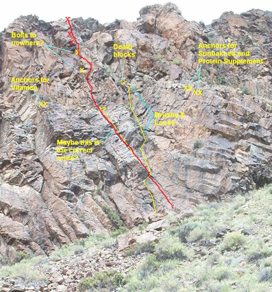Rock Climbing Photo: Old Sling Straightened is the red line in this pho...