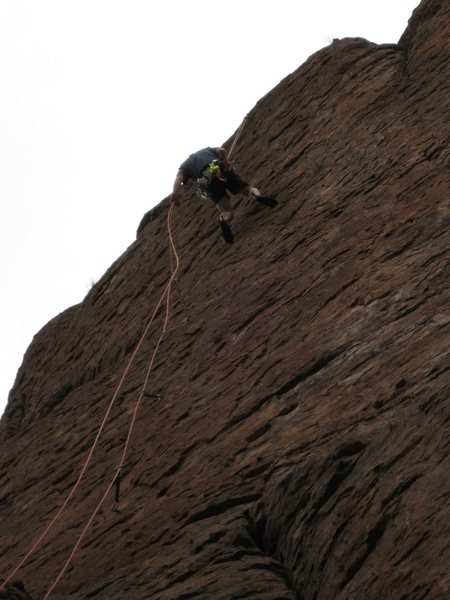 Rock Climbing Photo: Alex rappelling from the top of Centerpiece (photo...