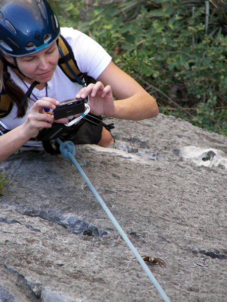 Rock Climbing Photo: Carolyn gets a little route-finding help from a fr...