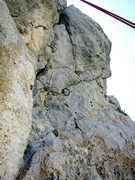 Rock Climbing Photo: Old iron and new bolts - the summit of The Spires.