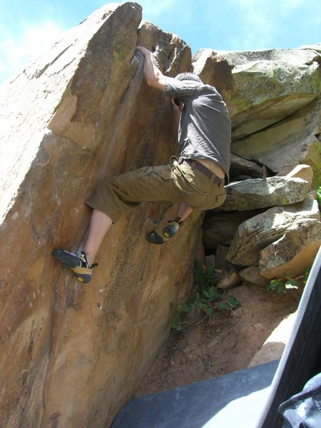 Rock Climbing Photo: V1 Low rock top-out