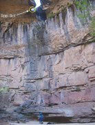 Rock Climbing Photo: The tiny slot on rap two that we had to do a backw...