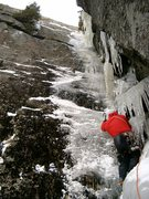 Rock Climbing Photo: Chris Hillios starting up the last pitch of Le Gri...