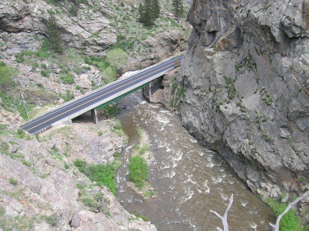 View of Clear Creek and the road.