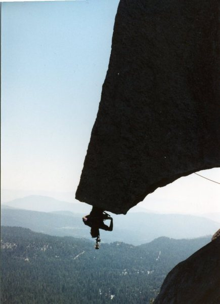 Rock Climbing Photo: Jay Anderson (Bat hang) 1980's photo by Sam Davids...