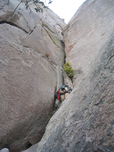 Rock Climbing Photo: Heading up pitch 2 - the roof ahead is super fun!