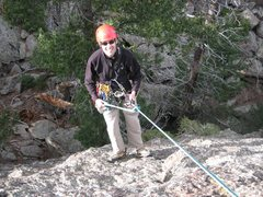 Rock Climbing Photo: Me rappeling off of the final peak of the Fatiron....