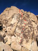 """Rock Climbing Photo: Route location of """"Me Love You Long Time&quot..."""