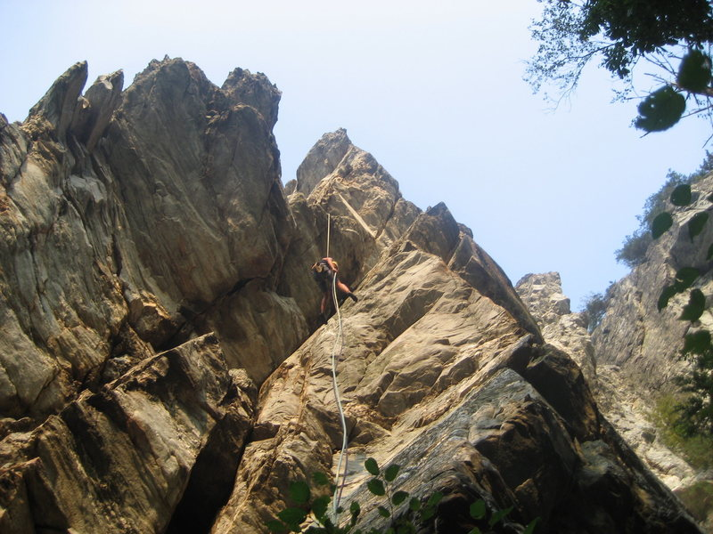 Super fun rappel. Great exposure! You must have TWO ropes. Climber: Dolly Saunders