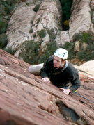 Rock Climbing Photo: Mike C. cruising on the last pitch of CC, Red Rock...