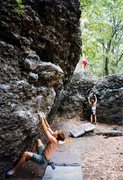 Rock Climbing Photo: Setting up for a fun dyno in the Alcove area.