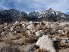 Rock Climbing Photo: Lone Pine Peak is the peak on the right, from Tutt...
