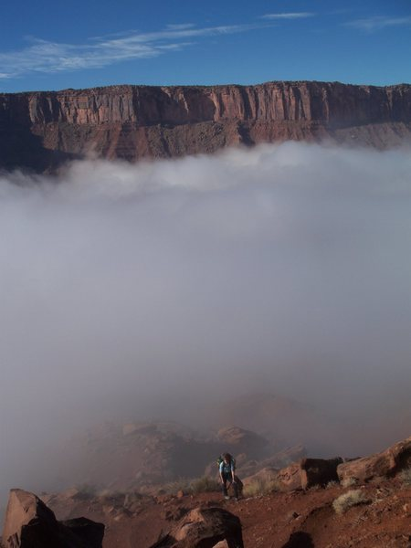 Rock Climbing Photo: Finally above the fog into blinding sunshine.  Cas...