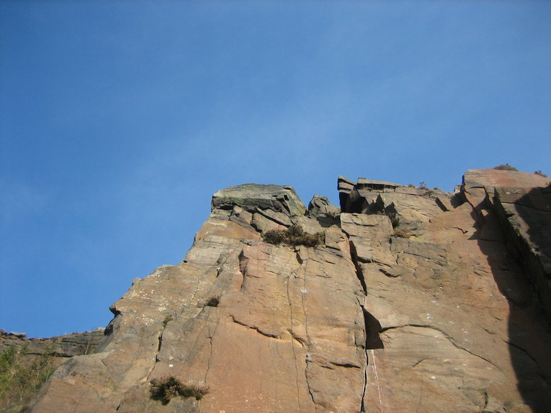 Rock Climbing Photo: Upper part of Bond Street. The crux is getting int...