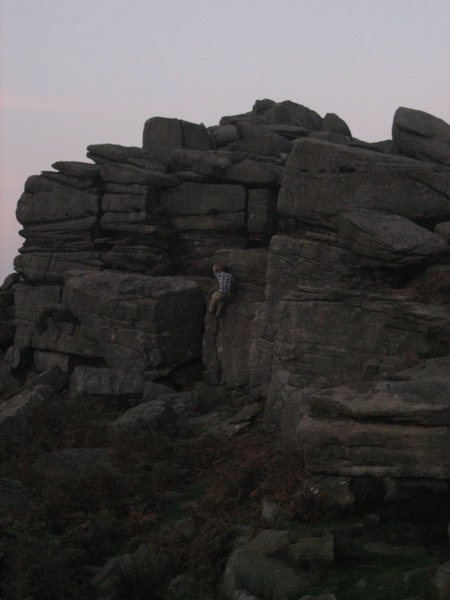 Rock Climbing Photo: Bouldering at dusk