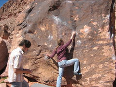 Rock Climbing Photo: Warmup boulder. V0-2 all over this thing.