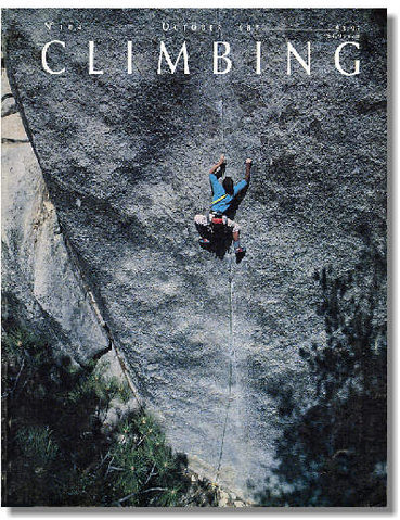 Johnny Woodward on the cover of Climbing doing The Pirate