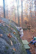 Rock Climbing Photo: Attempting the arete.
