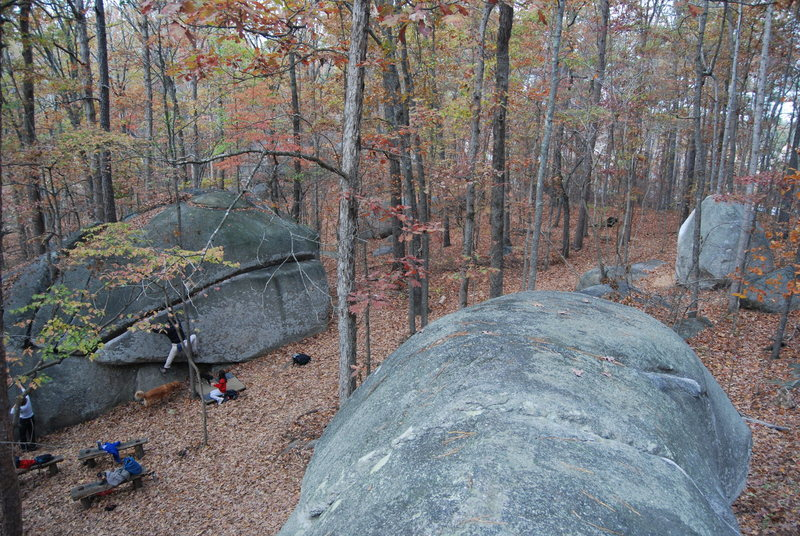Rockhouse traverse on left, Watermelon ahead on right, photo taken from top of Firewoman boulder.