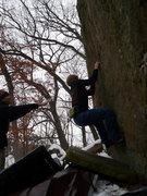 Rock Climbing Photo: Chris warming up on Flake Face