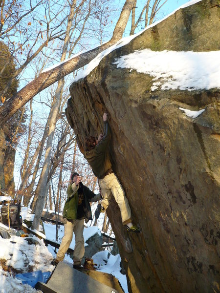 Rock Climbing Photo: John K high up on the Godfather, Dec. 13th 2008