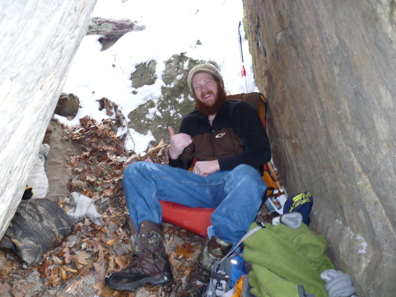 Rock Climbing Photo: Chris hanging out in base camp under Another Day D...