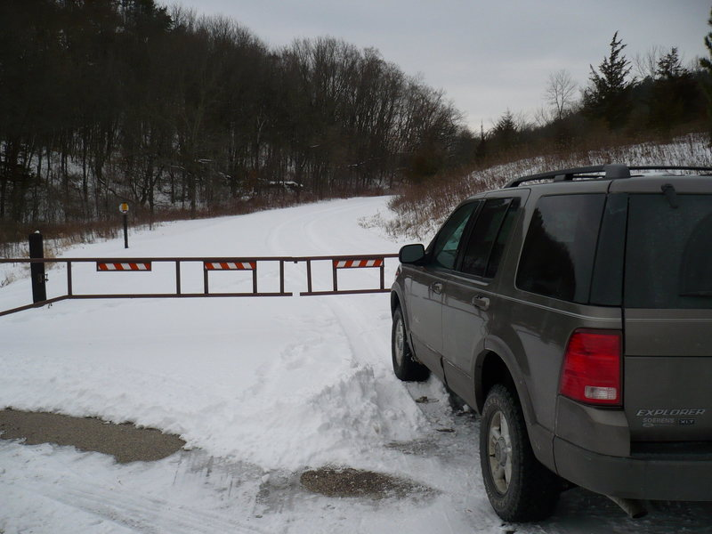 They closed the road to the Group Camp area and Quall Wall. Dec. 13th 2008.<br> <br> We walked in.