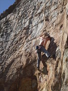 Rock Climbing Photo: making that crux move....one of the few moves i do...