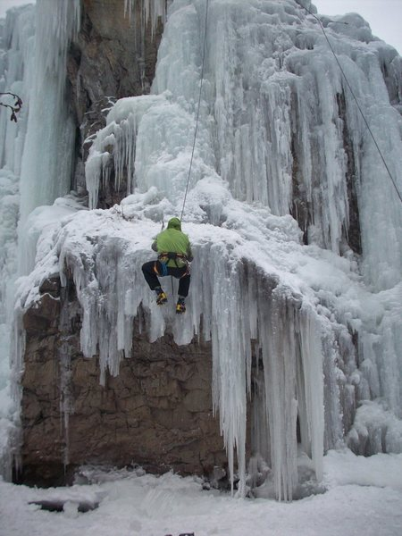 The ice did go all the way to the ground, but Rob got a little too excited about climbing.