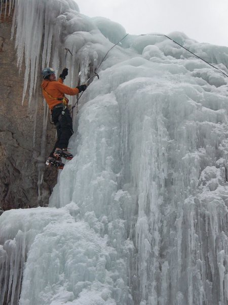 Matt climbing up left side.