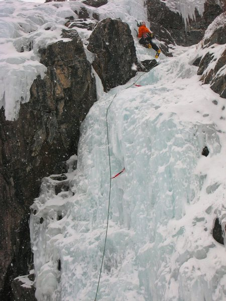 Rock Climbing Photo: This is where the route takes a slight turn to the...