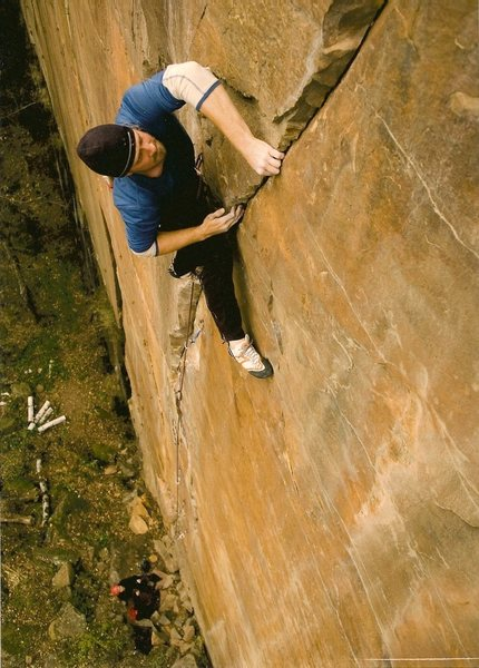 Rock Climbing Photo: Shawn Tracy on an attempt to solve Sigma.  Photo b...