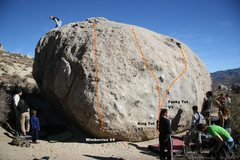Rock Climbing Photo: Tut Boulder West Face Topo