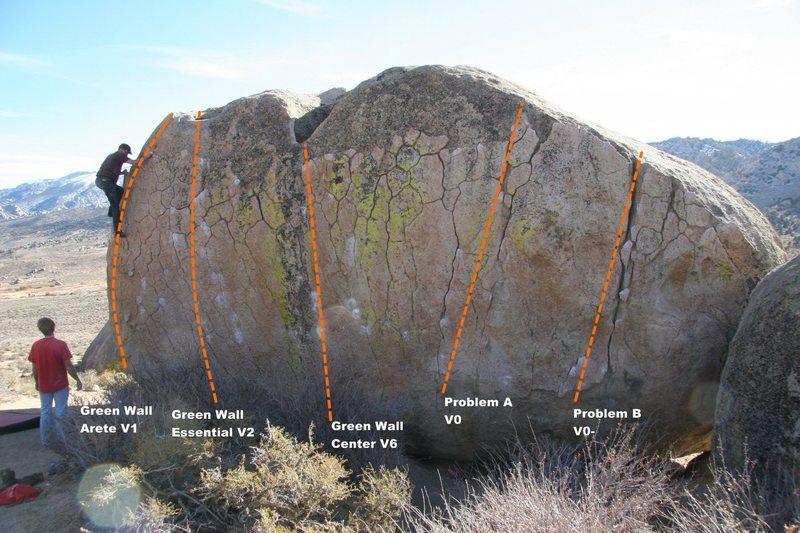 Green Wall Boulder North Face Topo