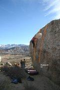 Rock Climbing Photo: Rowell Rock North face Topo