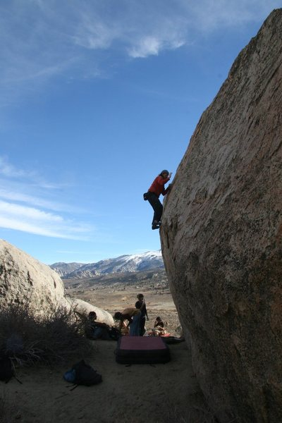 Moving onto the tall slab on Rowell Rock's North face.