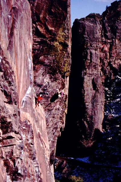 Rock Climbing Photo: Jerry Moffat on repeat ascent of  Psycho Roof's ne...