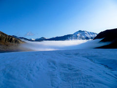 Above the morning fog.   <br /> <br />On the Athabasca Glacier.