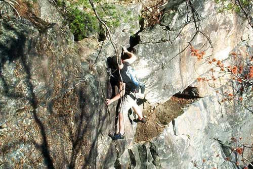 Jeremy Adkins at the top of New Yosimite 5.9 New River WV