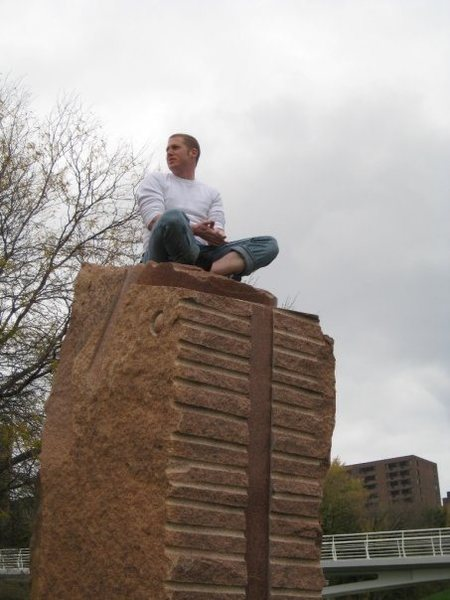 Ryan sitting on top of the eastern most pillar after completing Washboard Abs.
