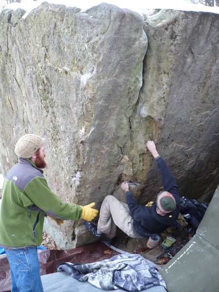Here is the bit easier, smoother start. We can reach that right hold with a sit start. A shorter climber might have trouble getting it.