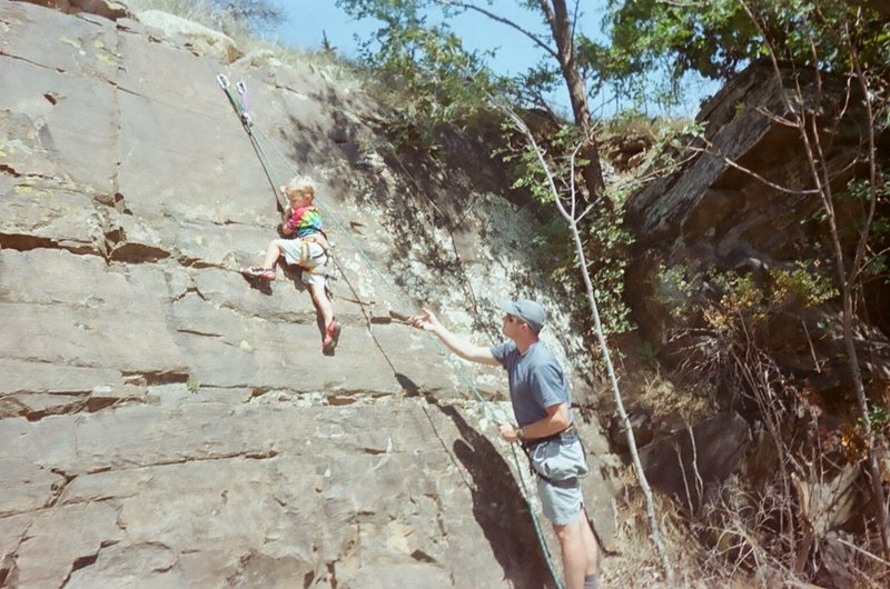 Evan Kingrey's first rock climb.